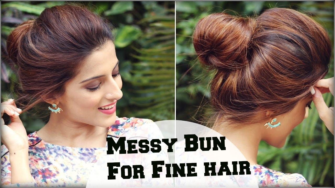 2 Min Easy Everyday Top Messy Bun Hairstyle For Fine / Thin Hair For inside Everyday Haircuts For Thin Hair