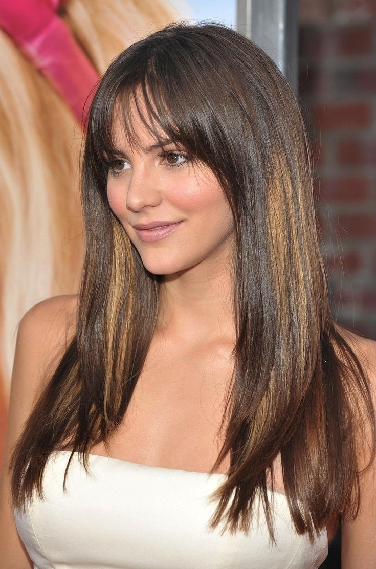 35 Flattering Hairstyles For Round Faces | Pinterest | Fringes, Long in Haircut For Round Face Long Hair With Bangs