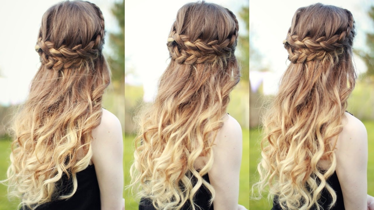 Beautiful Half Down Half Up Braided Hairstyle With Curls| Half Down throughout Curly Hairstyle Half Up Half Down