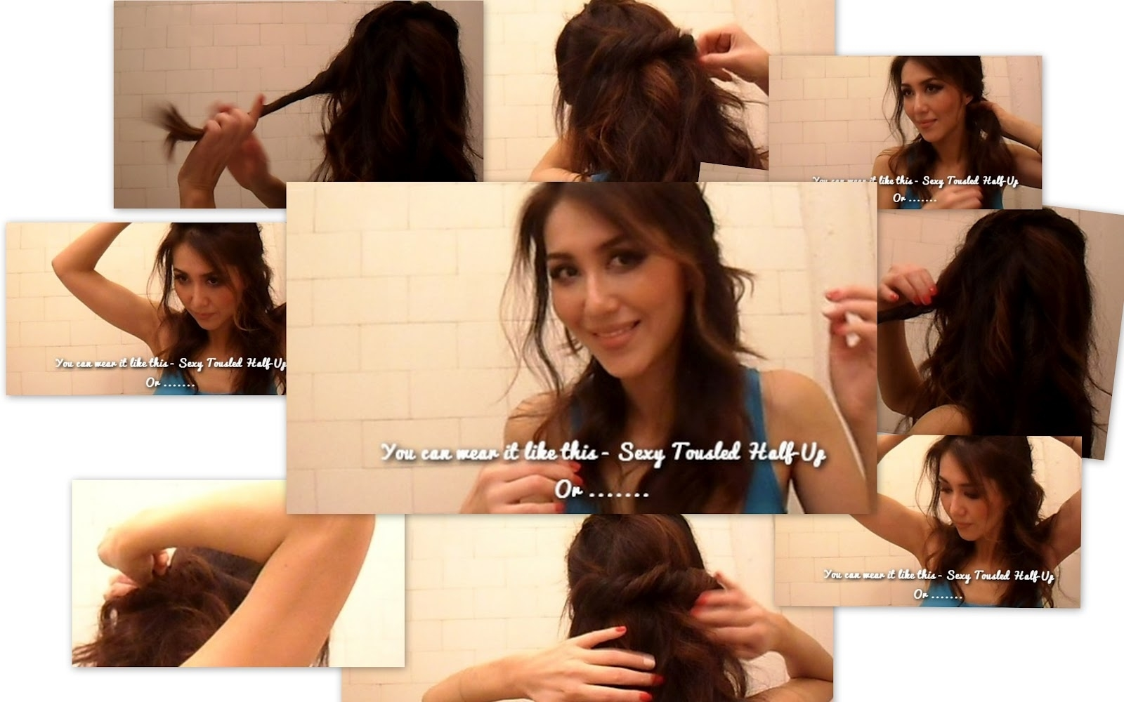 Collage Youtube Video Hair Tutorial Easy Half Updos Long Wavy with Haircut For Wavy Hair Videos