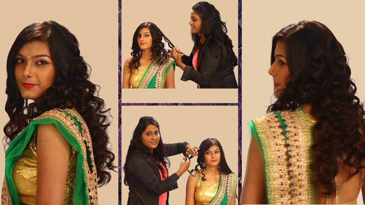 Curls Hairstyle For Indian Weddings | Side Curls Haistyles | Top in Curly Hair Hairstyle For Saree