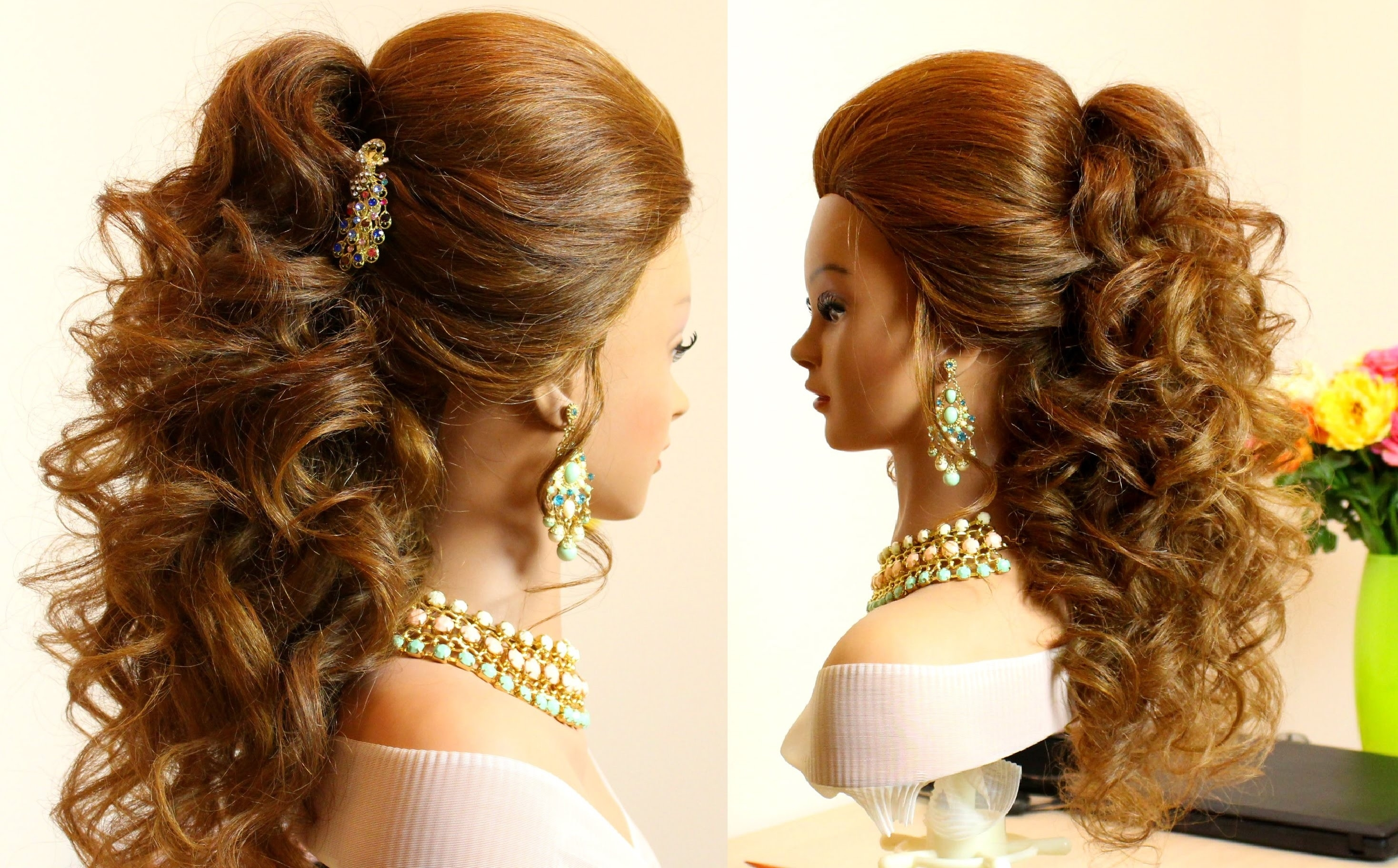 Curly Bridal Hairstyle For Long Hair Tutorial - Youtube regarding Curly Hairstyle For Long Hair