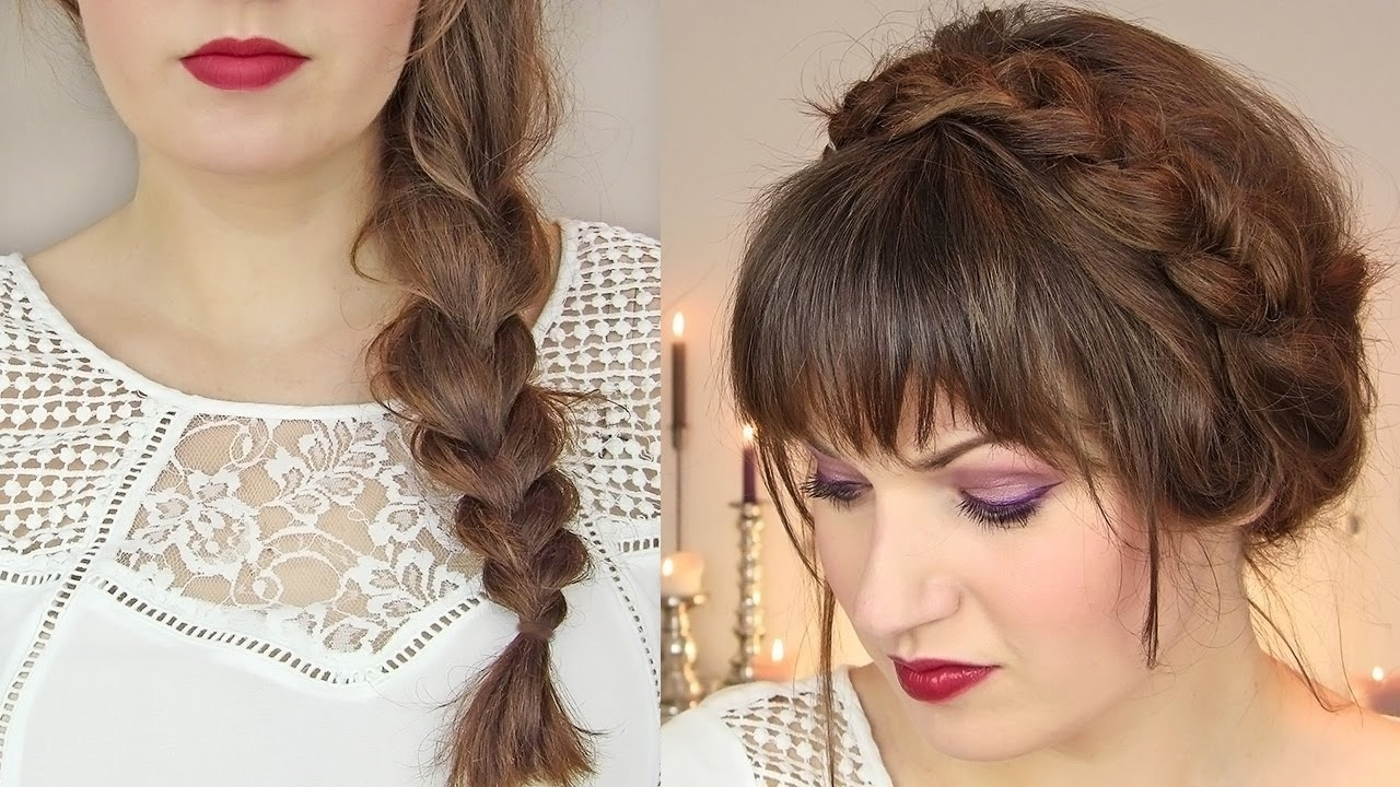 Cute Hairstyles For Thin Hair: Thick Braid & Milkmaid Updo - Youtube pertaining to Haircut Design For Thin Hair
