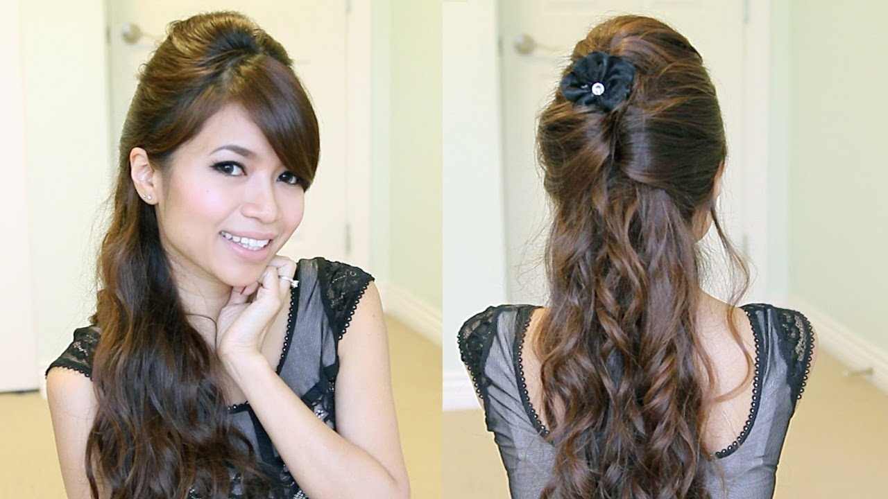 Elegant Prom Half-Updo Hairstyle | Curly Hair Tutorial - Bebexo intended for Curly Hair Style Girl Video