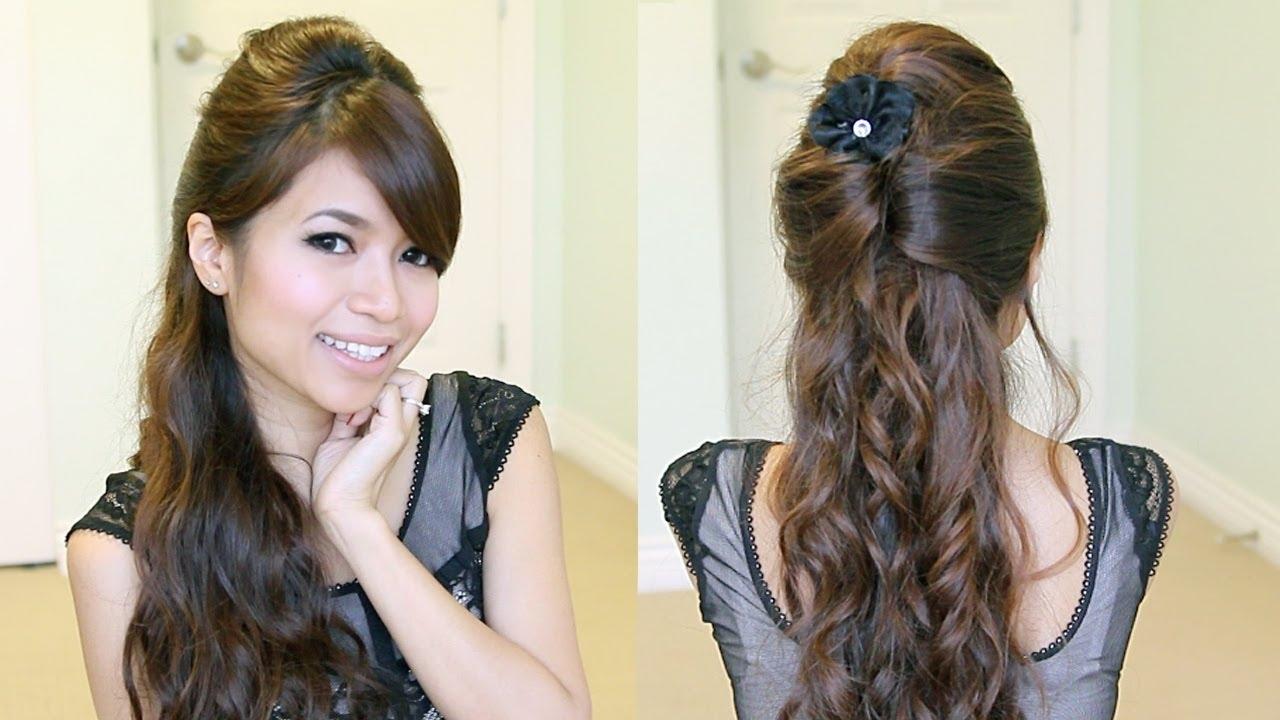 Elegant Prom Half-Updo Hairstyle | Curly Hair Tutorial - Bebexo regarding Haircut For Curly Hair Video