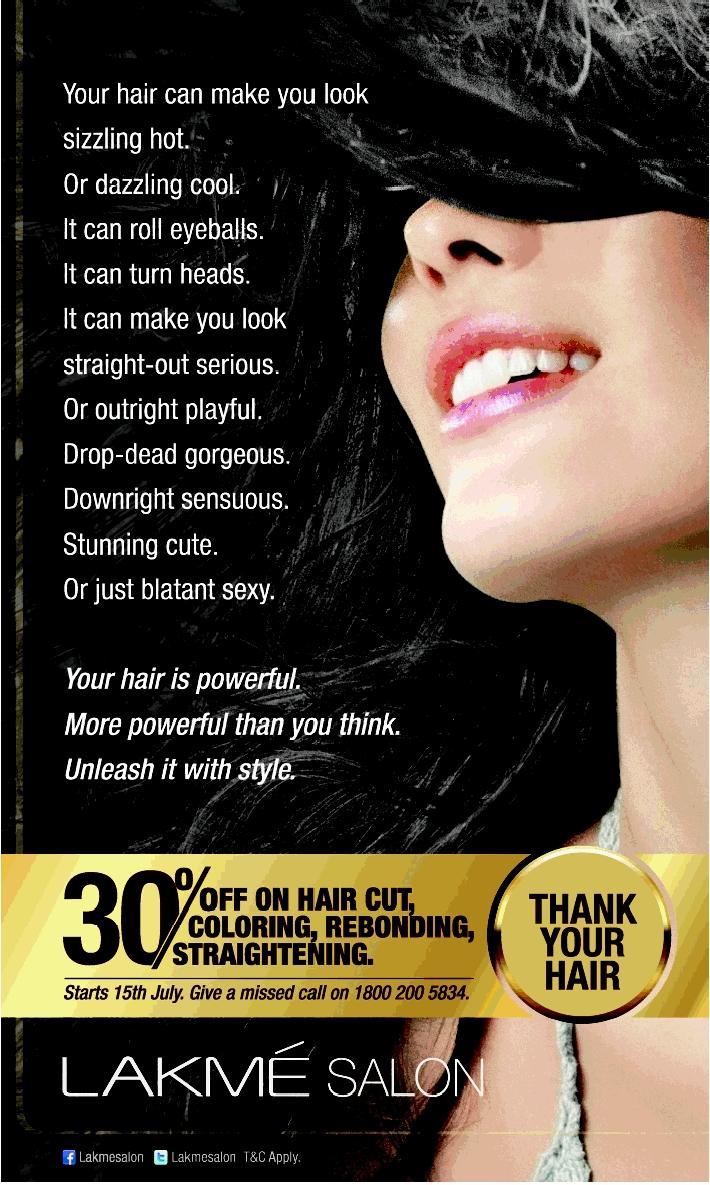 Lakme Salon-30% Off On Hair Cut, Coloring , Rebounding throughout Haircut Lakme Salon Price List
