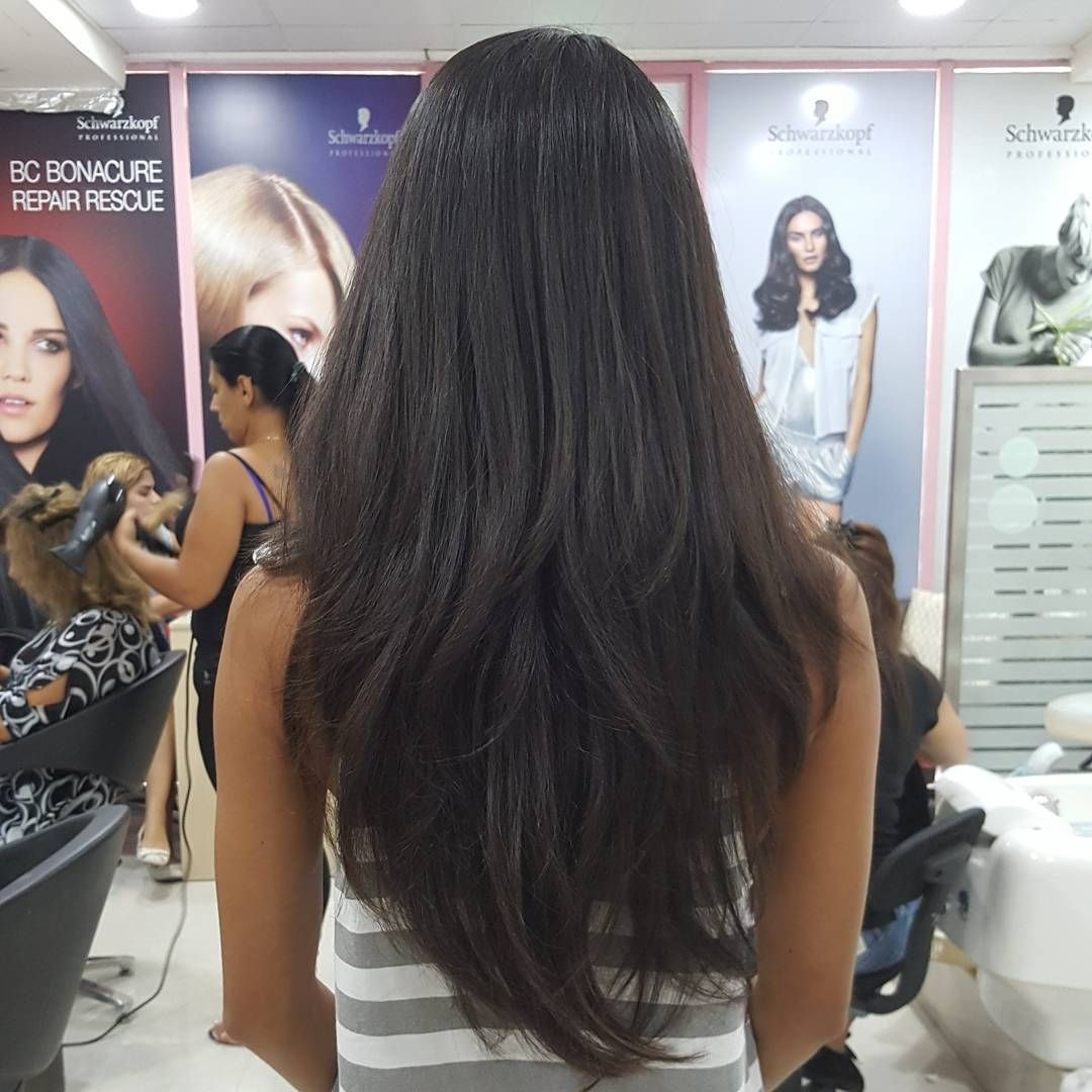 Long Thick Black Hair With Layering Resulting In A Gorgeous V Shape with Haircut For Thick Black Hair