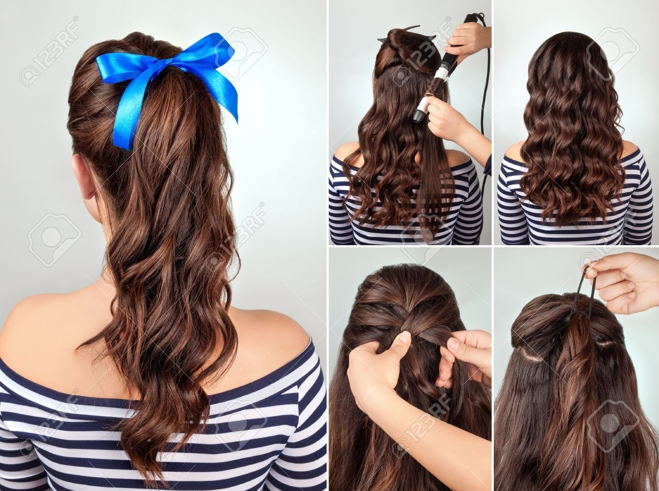 Simple Hairstyle Pony Tail On Curly Hair Tutorial. Hairstyle.. Stock inside Curly Hairstyle Easy To Manage
