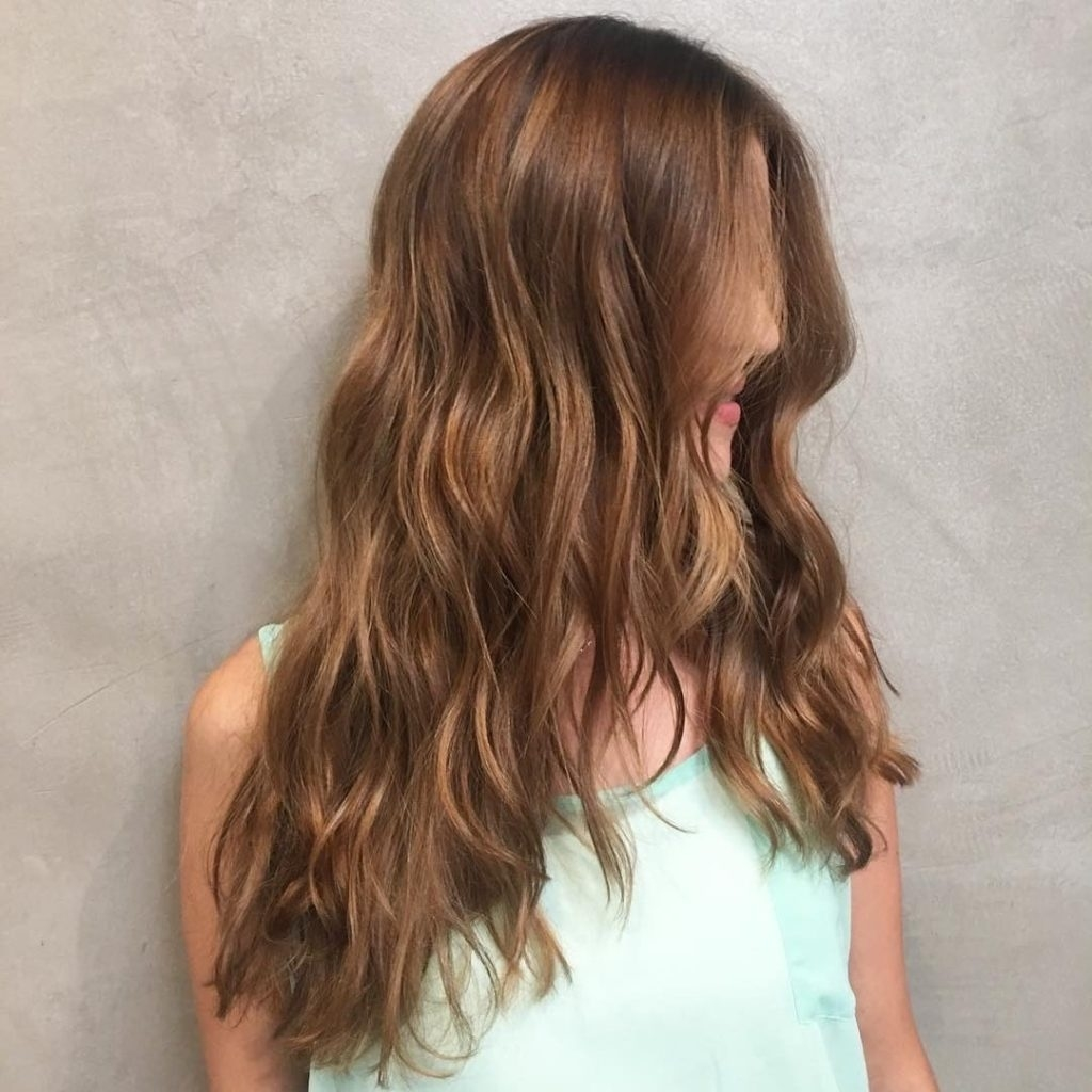 Women's Long Wavy V-Cut Layers On Warm Light Brown Hair pertaining to V Haircut For Wavy Hair