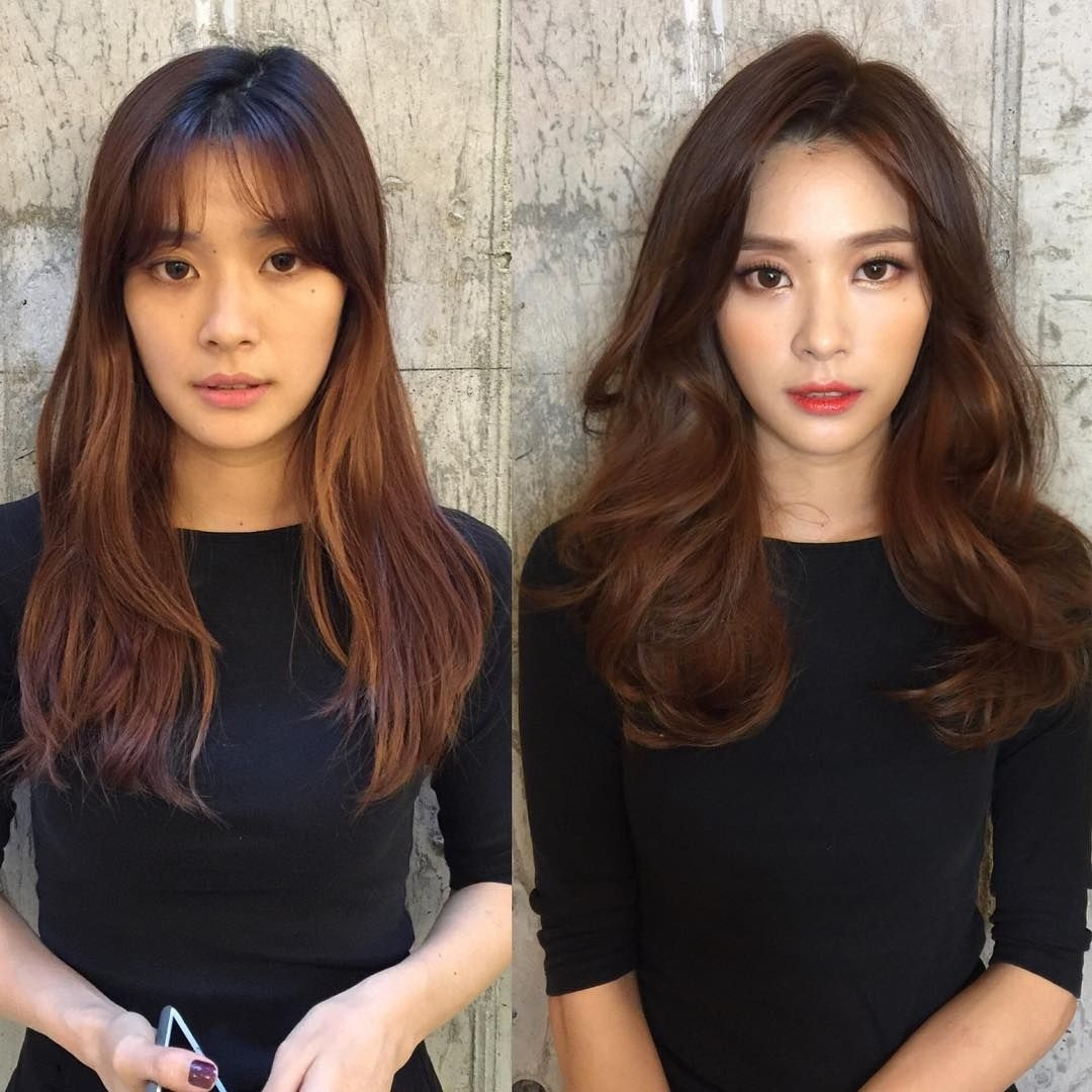 ulzzang korea before after makeup - wavy haircut