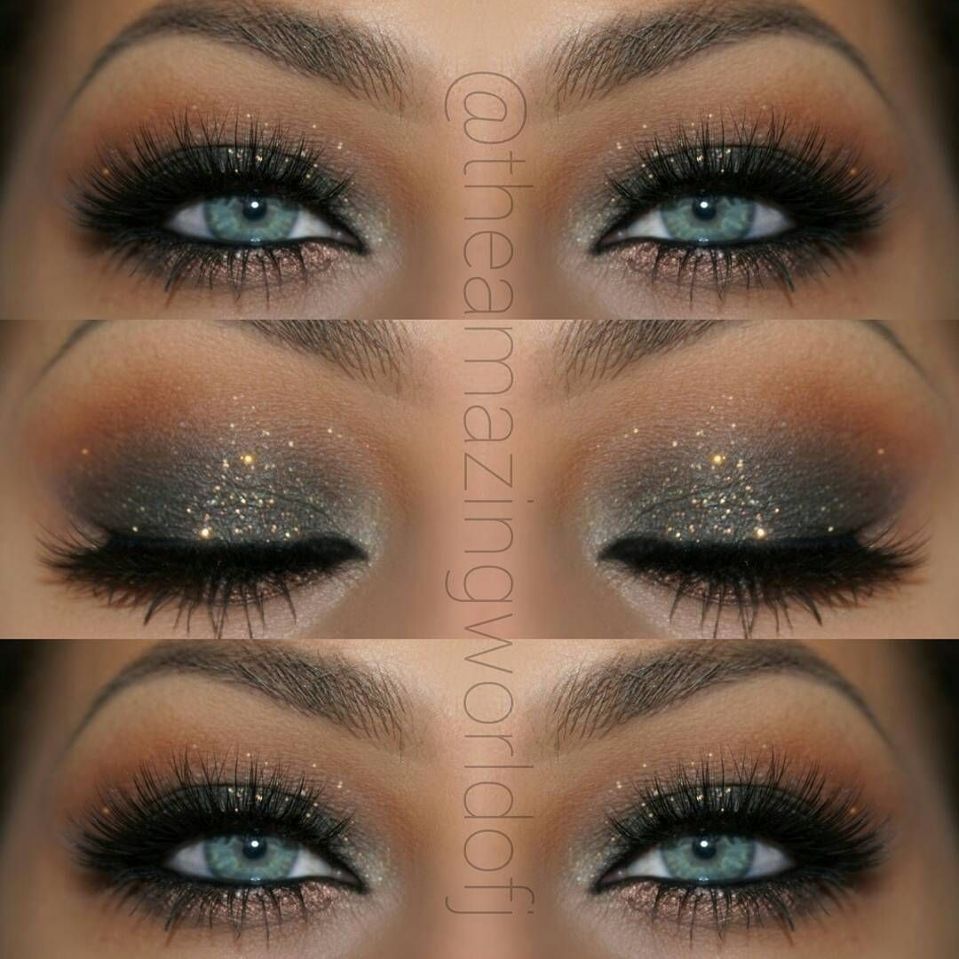 "Elegant Glitter Smokey Eye Makeup That Makes Her Blue Eyes ""pop in How To Apply Eyeshadow For Blue Eyes Smokey Eyes"
