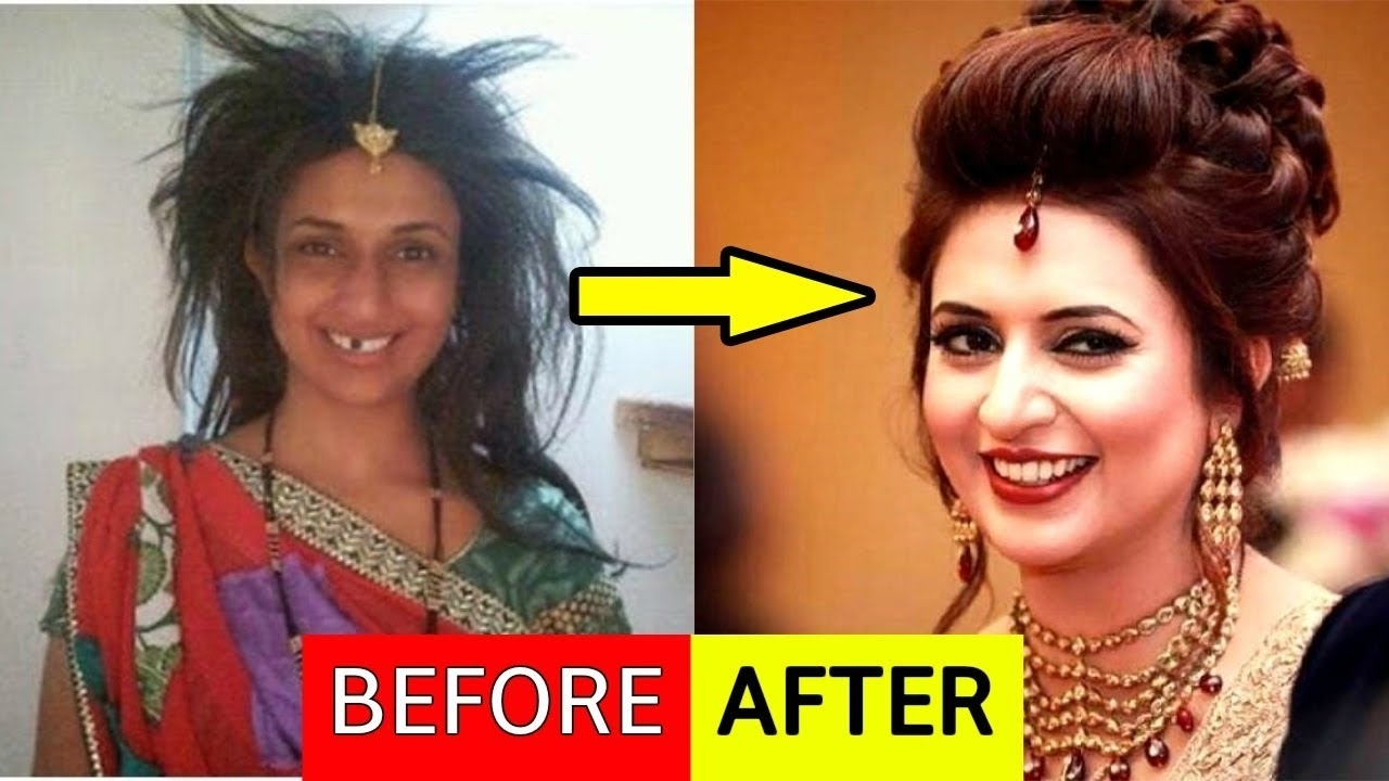 bollywood actress before and after makeup - wavy haircut