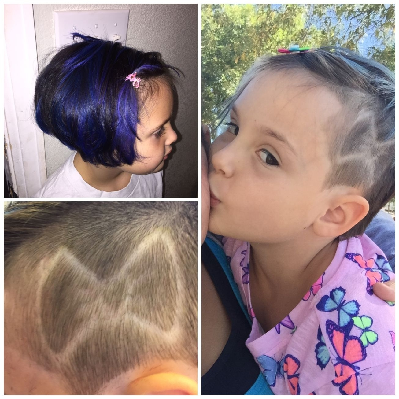 Blue Hair And Shaved On The Side. Shaved Design For Little Girls for Little Girl Shaved Hair