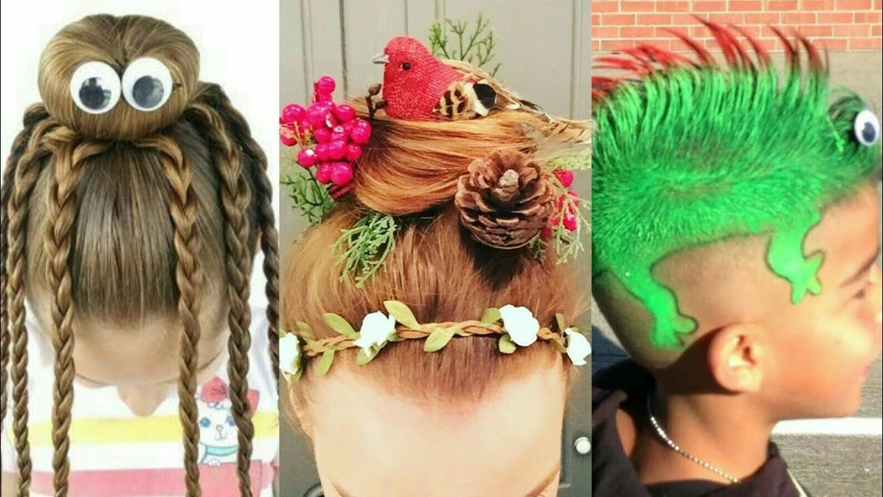 Crazy Hair Style | Wacky Hair Style 2017 | Crazy Hair Day In School throughout Crazy Hairstyles For School