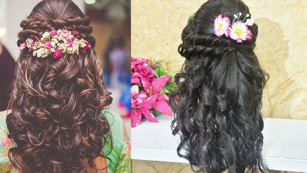 Curly Prom Hairstyle For Long Medium Hair ?indian Wedding Hairstyle throughout Indian Wedding Curly Hairstyles