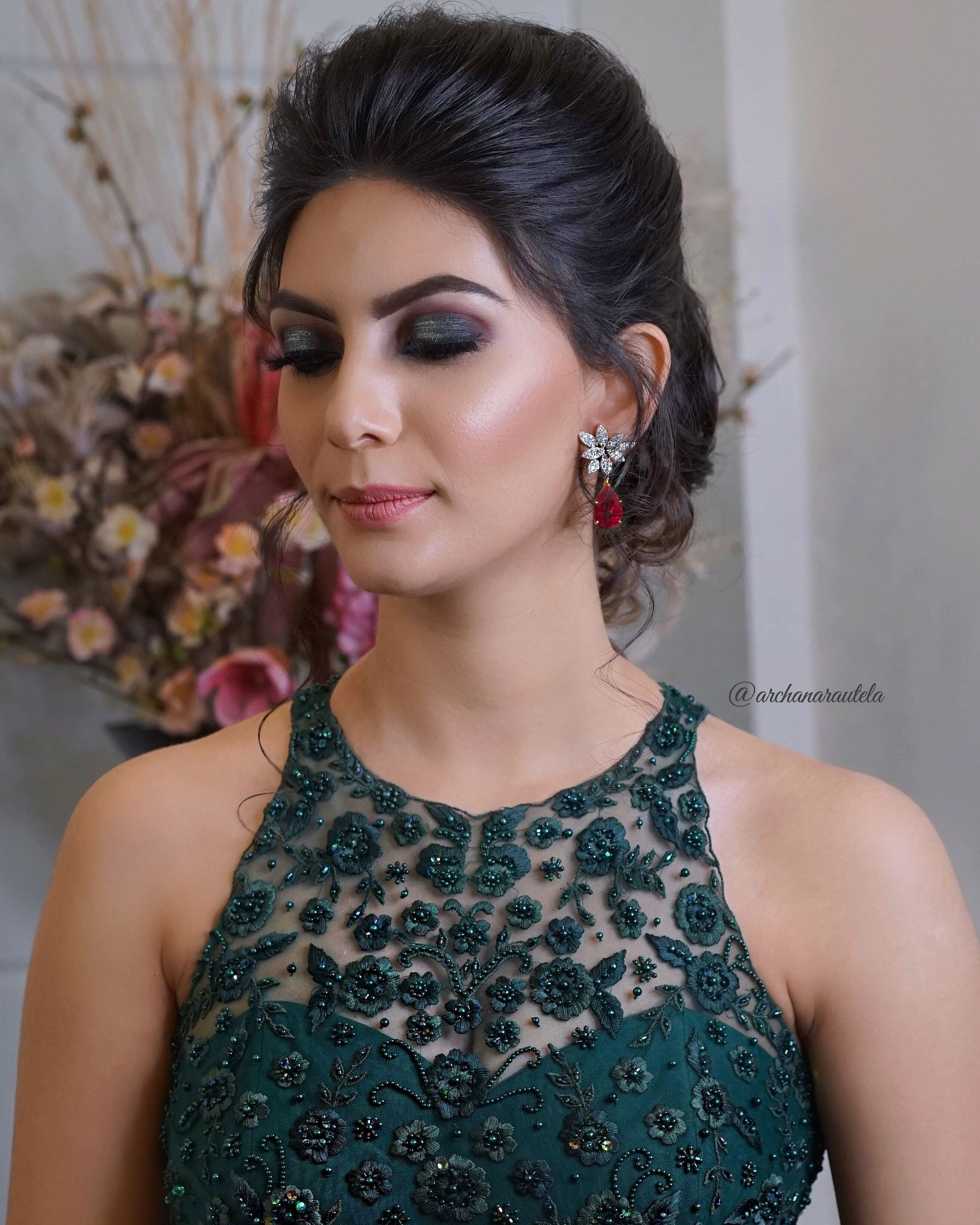 Gorgeous In Green ???? ?akshita Wearing Emerald Green Gown With regarding Indian Hairstyle With Gown