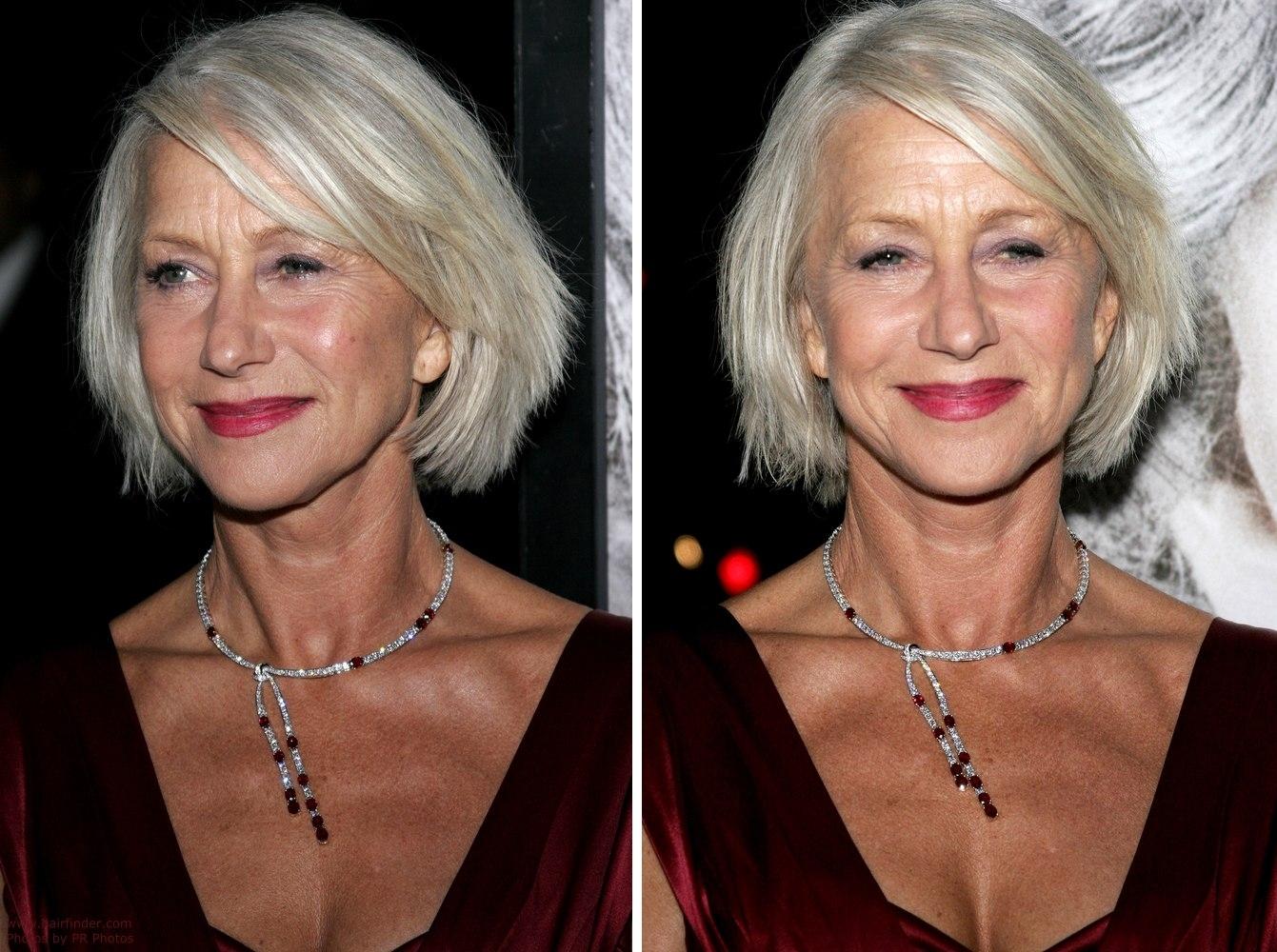 Helen Mirren With Her Silver Hair Cut To A Chin Length Bob within Helen Mirren Haior Cut