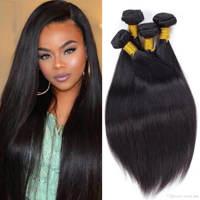 Peruvian Virgin Hair Straight Weave Bundles Mink Brazilian Human with Straight Weave Hair Styes