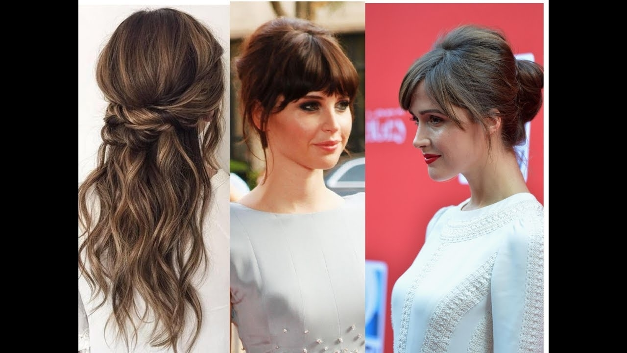 Updos With Bangs| Hairstyles|Half Up, Half Down Hairstyles - Youtube with regard to Half Up Half Down Wedding Hairstyles With Fringe