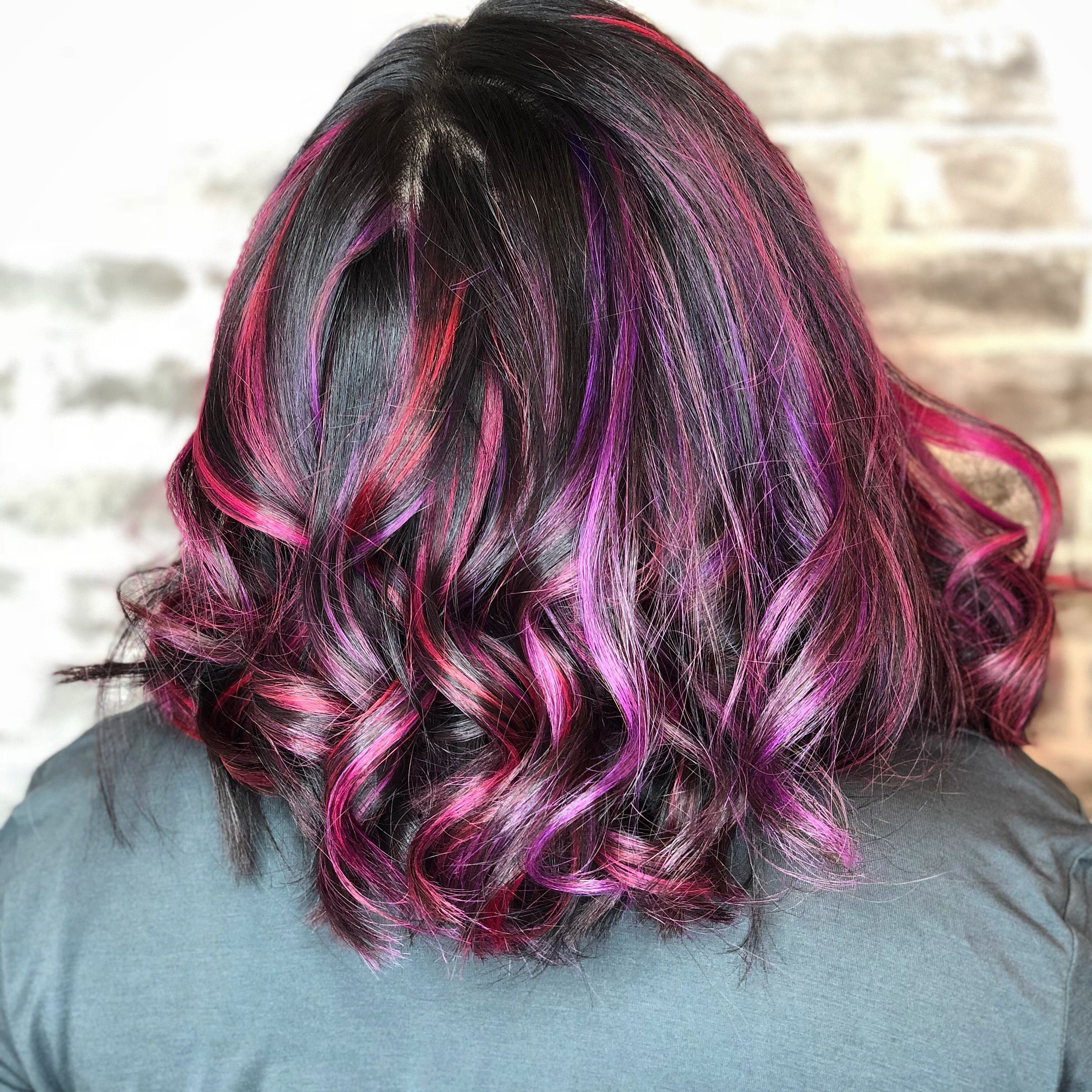 Asian Hair - Purple Pink Red Highlights On Black Hair . #purplehair for Very best Asian Hair With Red Highlights