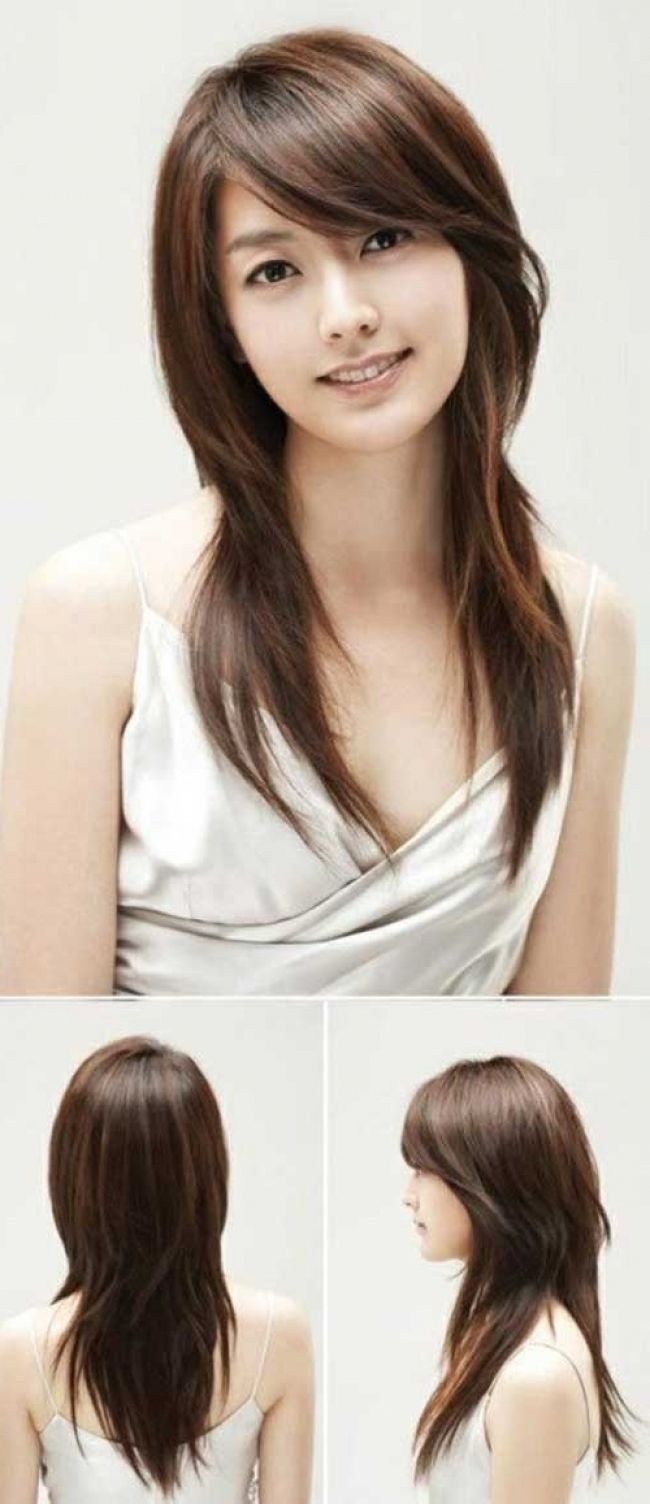 Asian Straight Layered Hair With Side Bangs Asian Side Swept Bangs in Asian Long Hair With Bangs