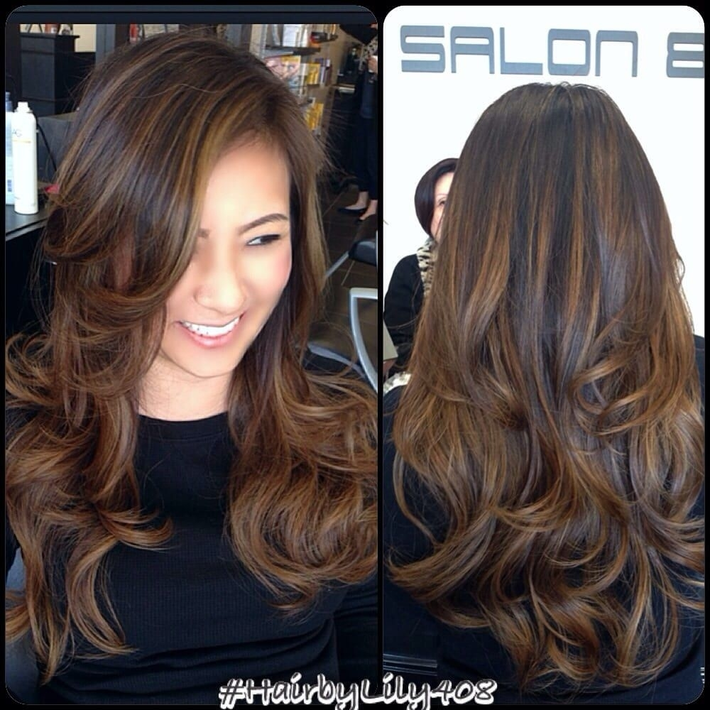 Balayage Black Hair Ideas In 2019 | Hair And Beauty | Curly Hair in Asian Hair With Caramel Highlights