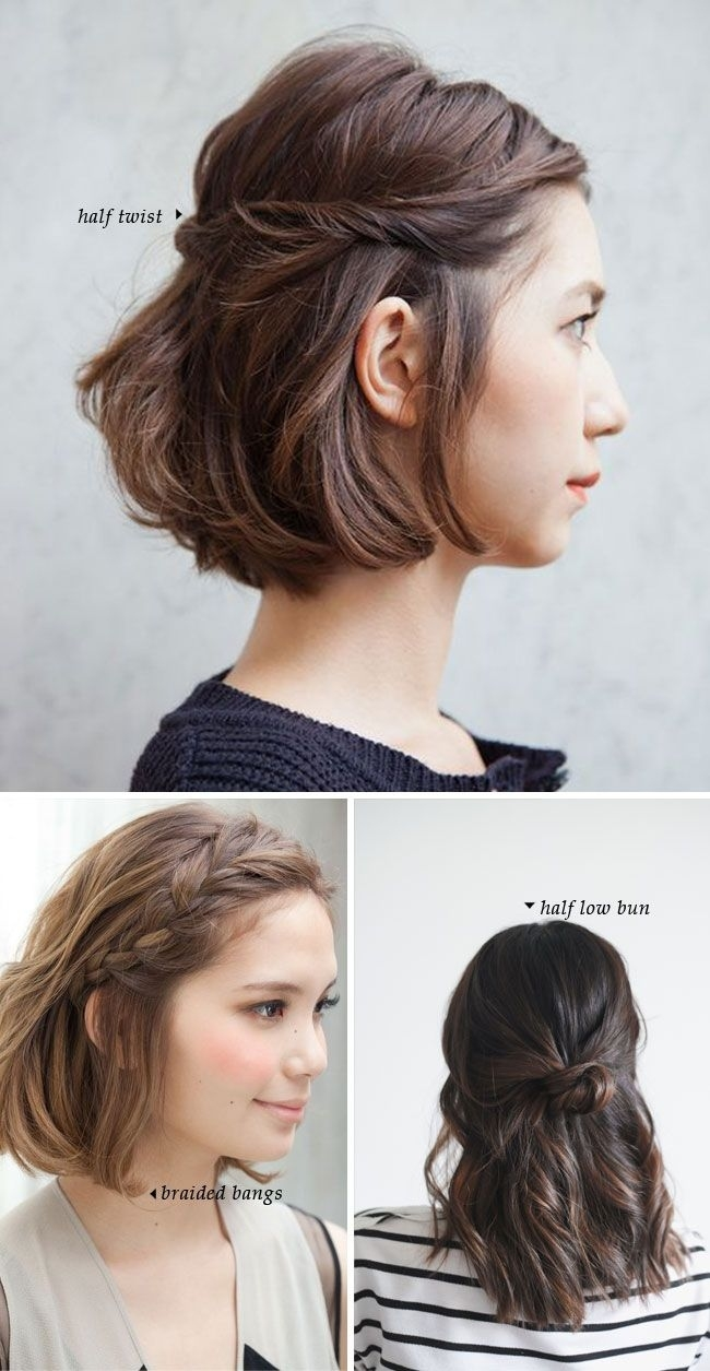 Fashonable Updo Hairstyles For Short Hair   Hair   Cabello, Peinados with Amazing Korean Bun Hairstyle For Short Hair