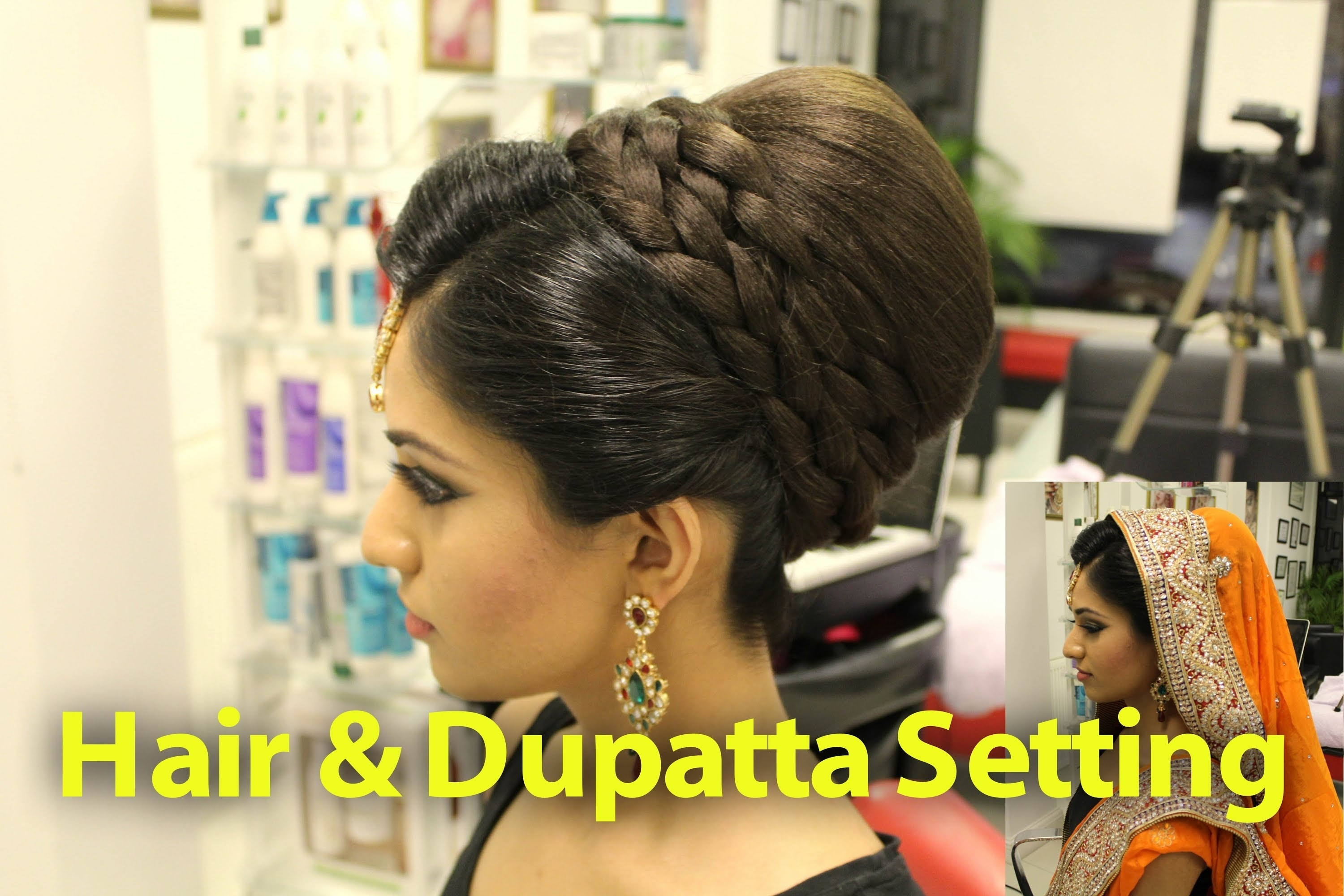 Indian, Pakistani, Asian Bridal Hair Style | Tikka & Dupatta Setting intended for Top-drawer Asian Hairstyles For Wedding Party
