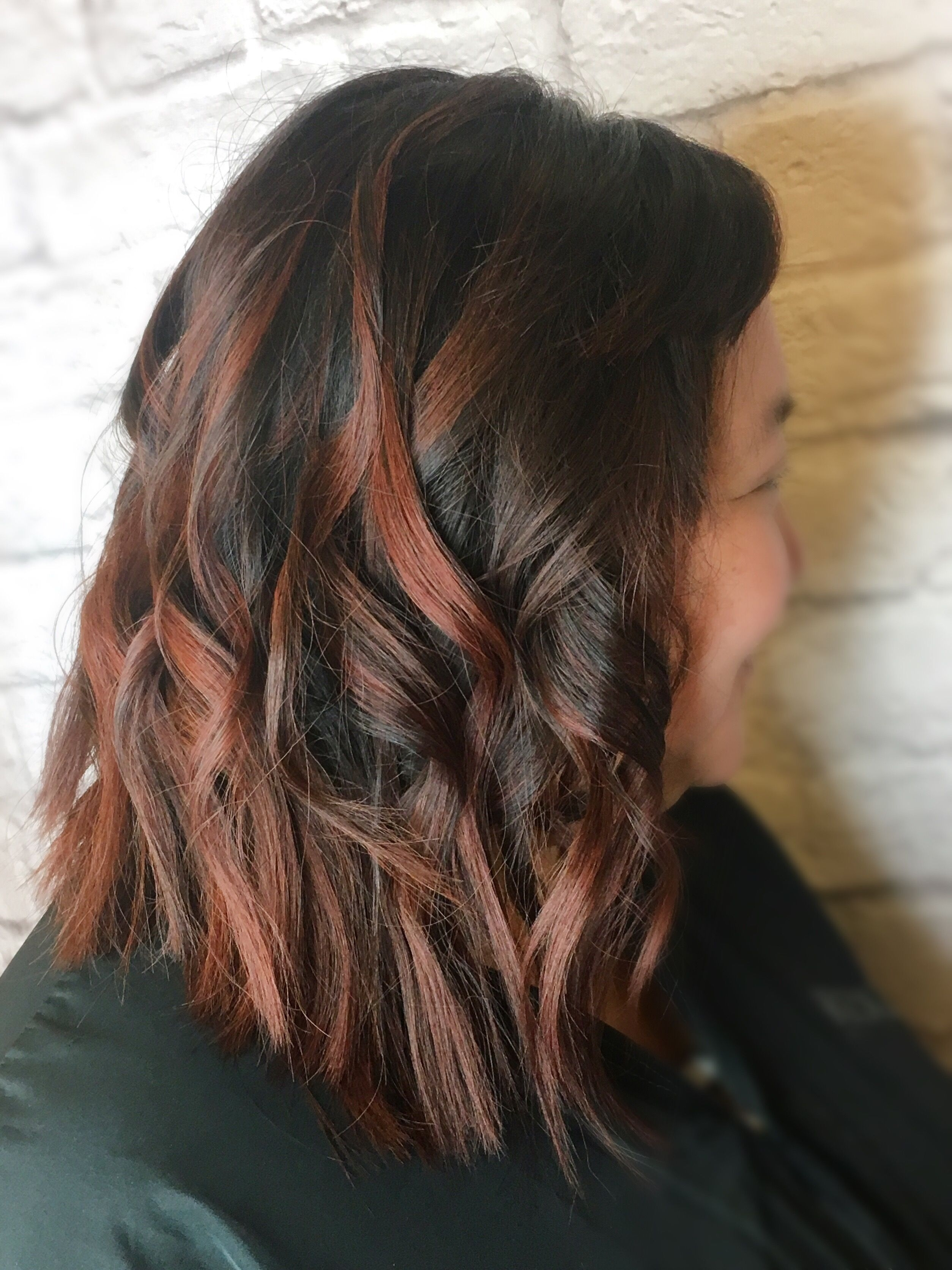 Red Brown Copper Balayage Highlights On Dark Asian Hair With Loose in Asian Hair With Red Highlights