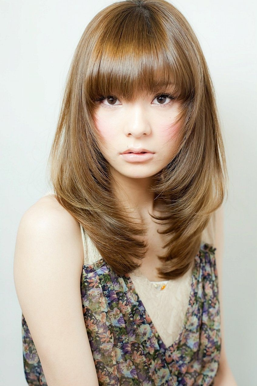 Shoulder Length Layered Hairstyles With Bangs For Thin Fine Brown with Superb Asian Bangs Hairstyle For Round Face