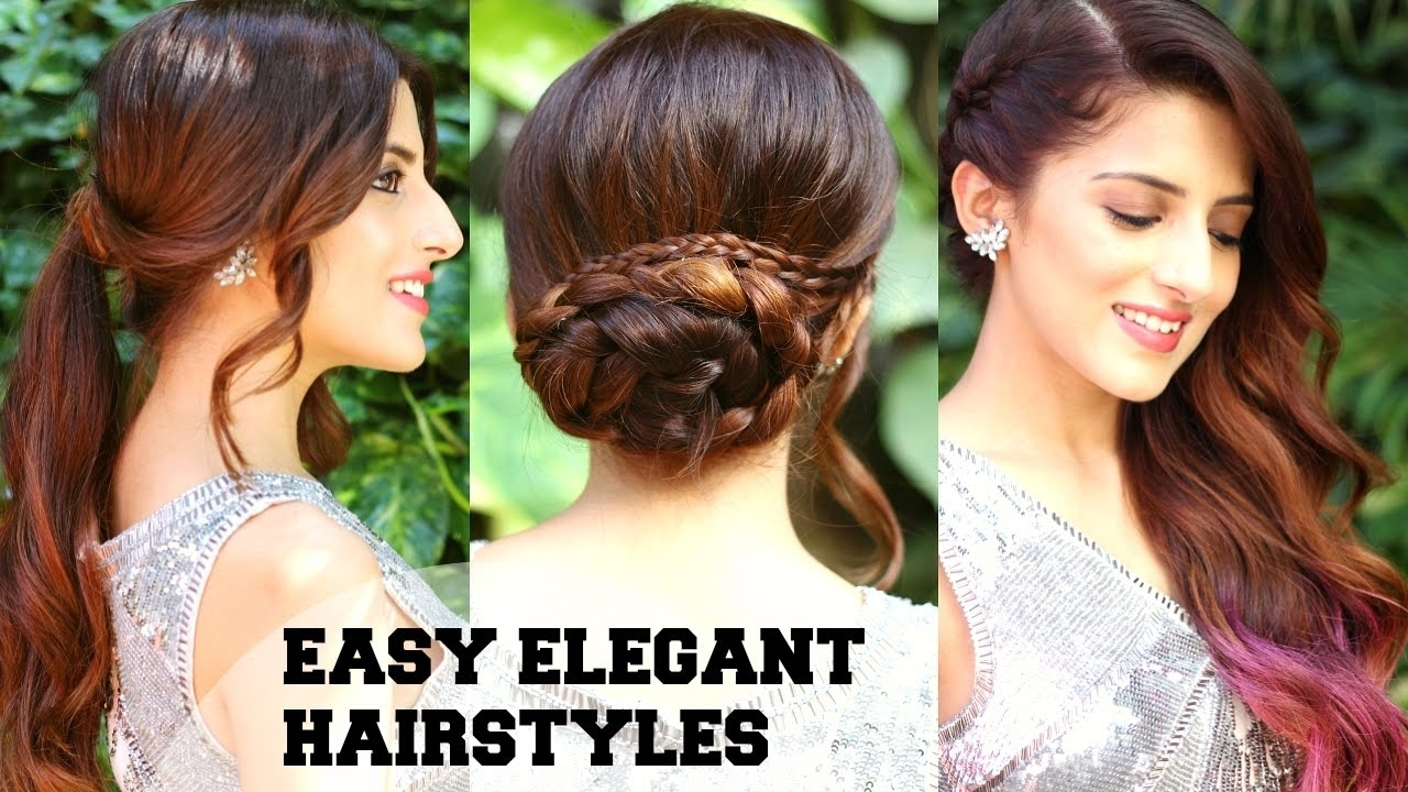 3 Easy Elegant Romantic Hairstyles / Indian Party Hairstyles For Medium To  Long Hair/ Bblunt inside Indian Hairstyle For Party