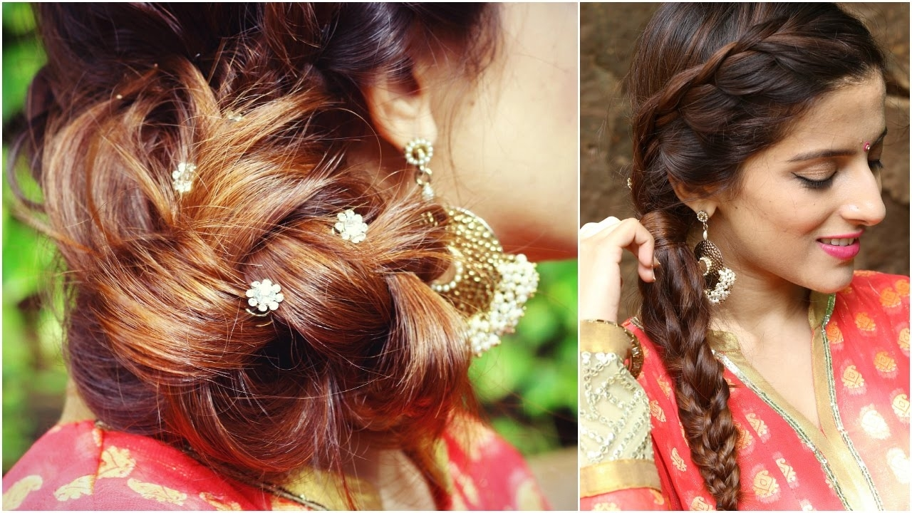 3 Indian Hairstyles For Medium To Long Hair | Indian Wedding Hairstyles For  Medium Hair pertaining to Indian Hairstyles For Long Hair Videos