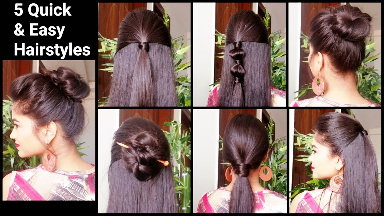 5 Quick & Easy Hairstyles For Medium To Long Hair//back To School  Hairstyles //indian Hairstyles inside Indian Hairstyles For Long Hair Simple