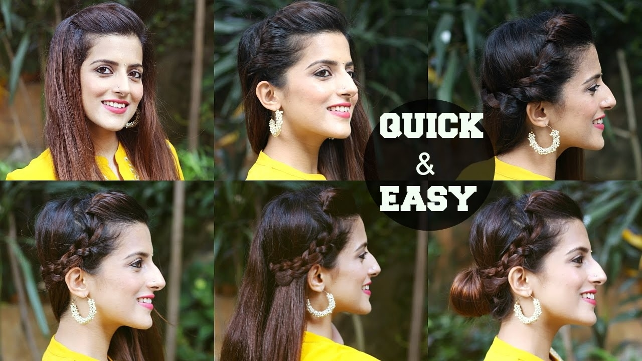 6 Quick & Easy Indian Hairstyles For Medium To Long Hair / Perfect Side  Hair Poof - No Teasing inside Indian Hairstyles For Medium Long Hair