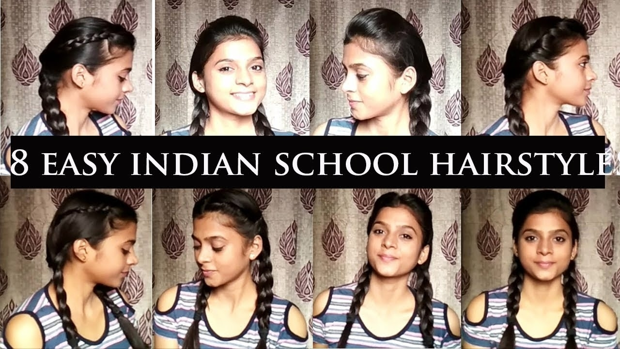 8 Easy Hairstyles For Indian Schools || Back To School Hairstyles || Quick &easy || Anushka Rathore intended for Indian School Girl Hairstyle For Short Hair