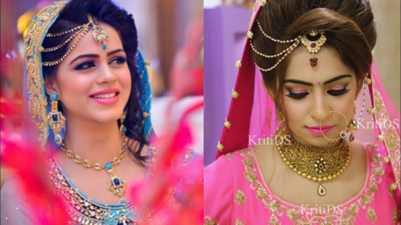 Beautiful Side Mangtikka Hairstyles For Indian Wedding Season/mangtikka For  Lehenga/side Bendi pertaining to Indian Bridal Hairstyle With Maang Tikka