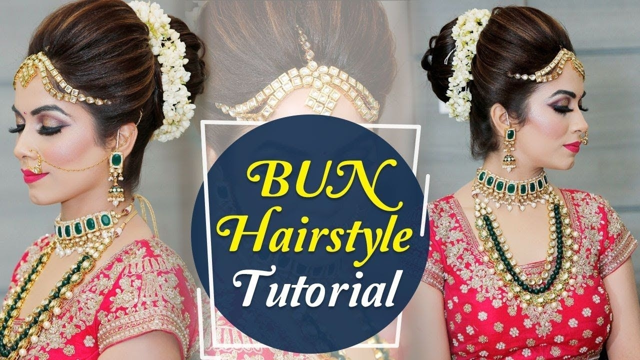 Bun Hairstyle Tutorial   Step By Step Indian Bridal within Indian Bridal Bun Hairstyles Video