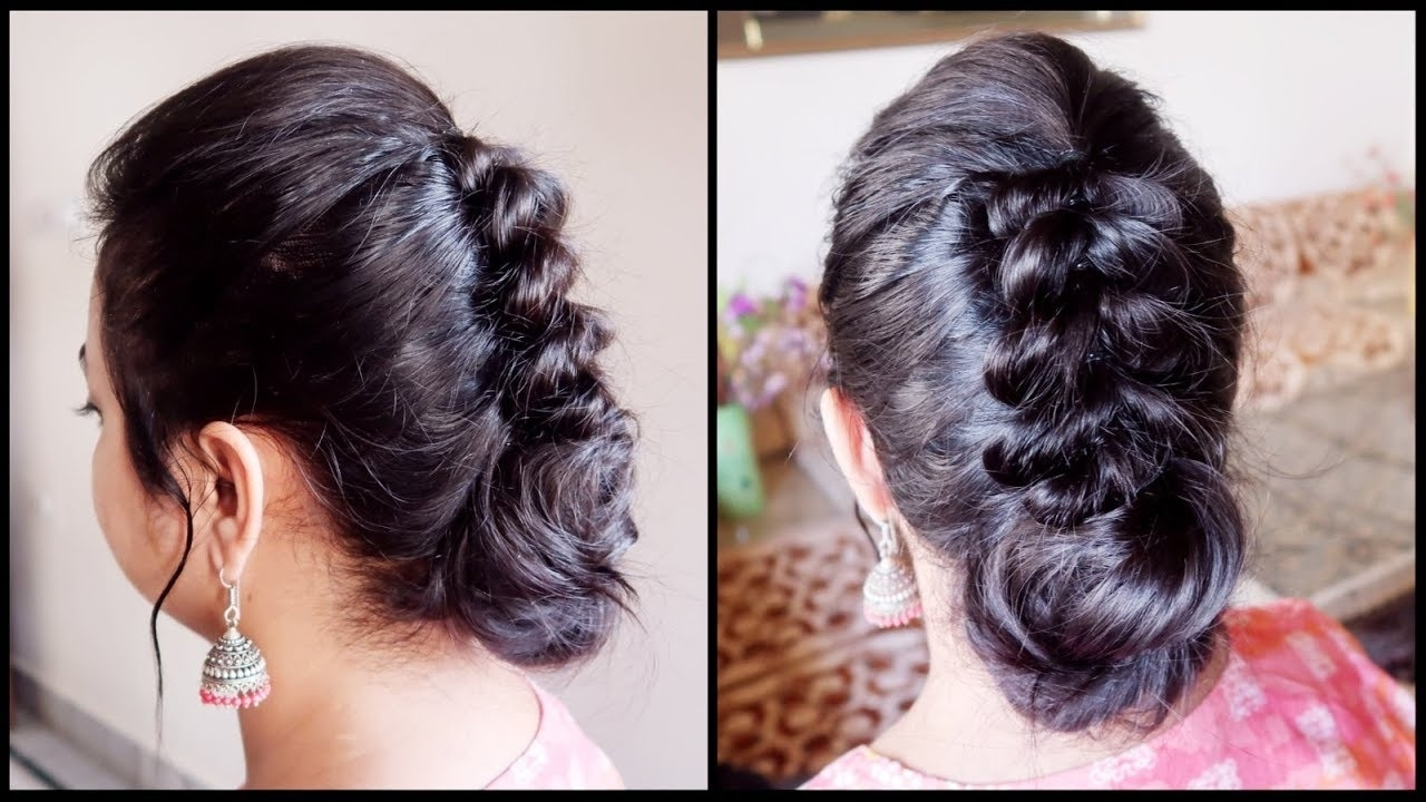 Festive/wedding Guest Hairstyle For Very Thin Hair// Indian Party Bun  Hairstyle For Medium Hair within Indian Hairstyles For Long And Thin Hair