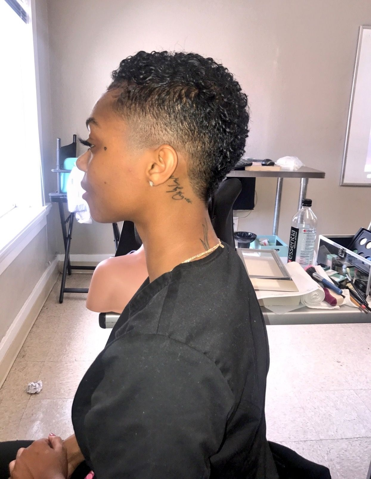 black women fade cut in back of hair style - wavy haircut