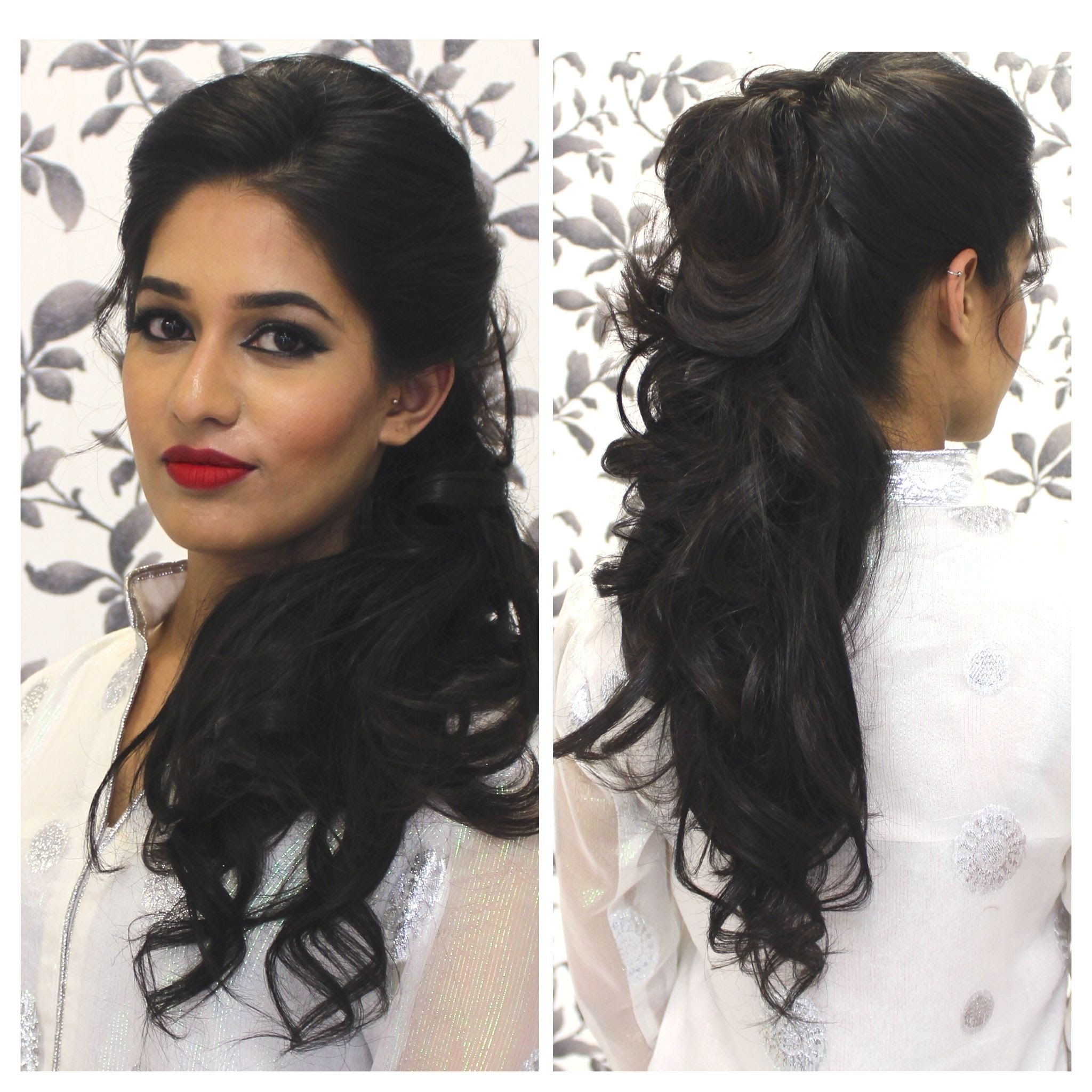 Hairstyles For Curly Hair Indian | Half Up Do | Indian Party pertaining to Indian Hairstyle For Curly Hair