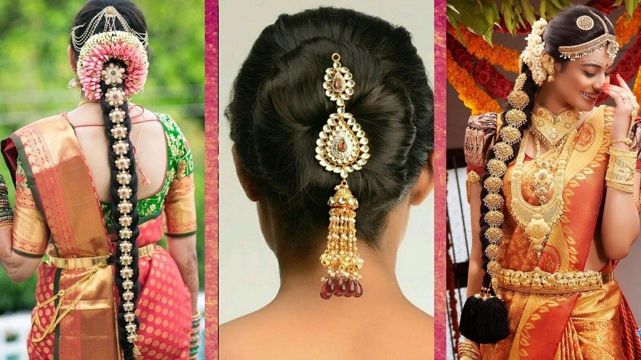 Indian Bridal Hairstyles | Wedding Hairstyles Step By Step | Bridal Bun And  Bridal Plait Hairstyles in Indian Bridal Hairstyle With