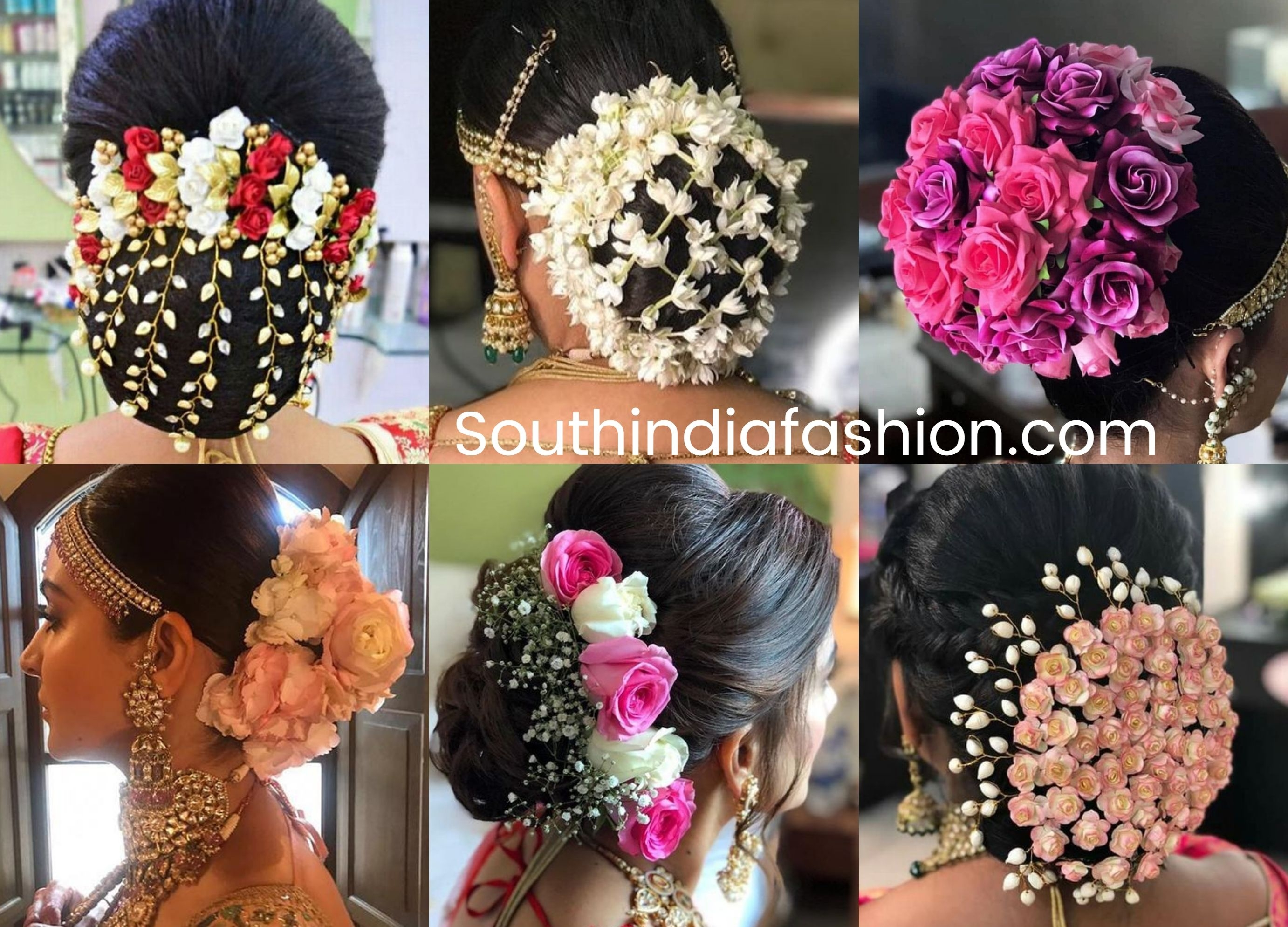 Indian Wedding Bun Hairstyle With Flowers And Gajra! | •hair regarding Indian Bridal Hairstyle With Flowers