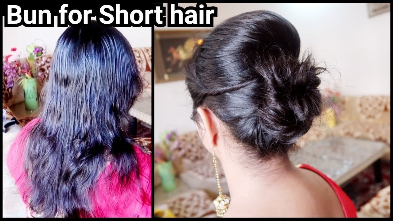Karwachauth Special-Bun Hairstyle For Short Hair// Easy Indian Festive Bun With Puff Hairstyle intended for Indian Hairstyle For Very Short Hair