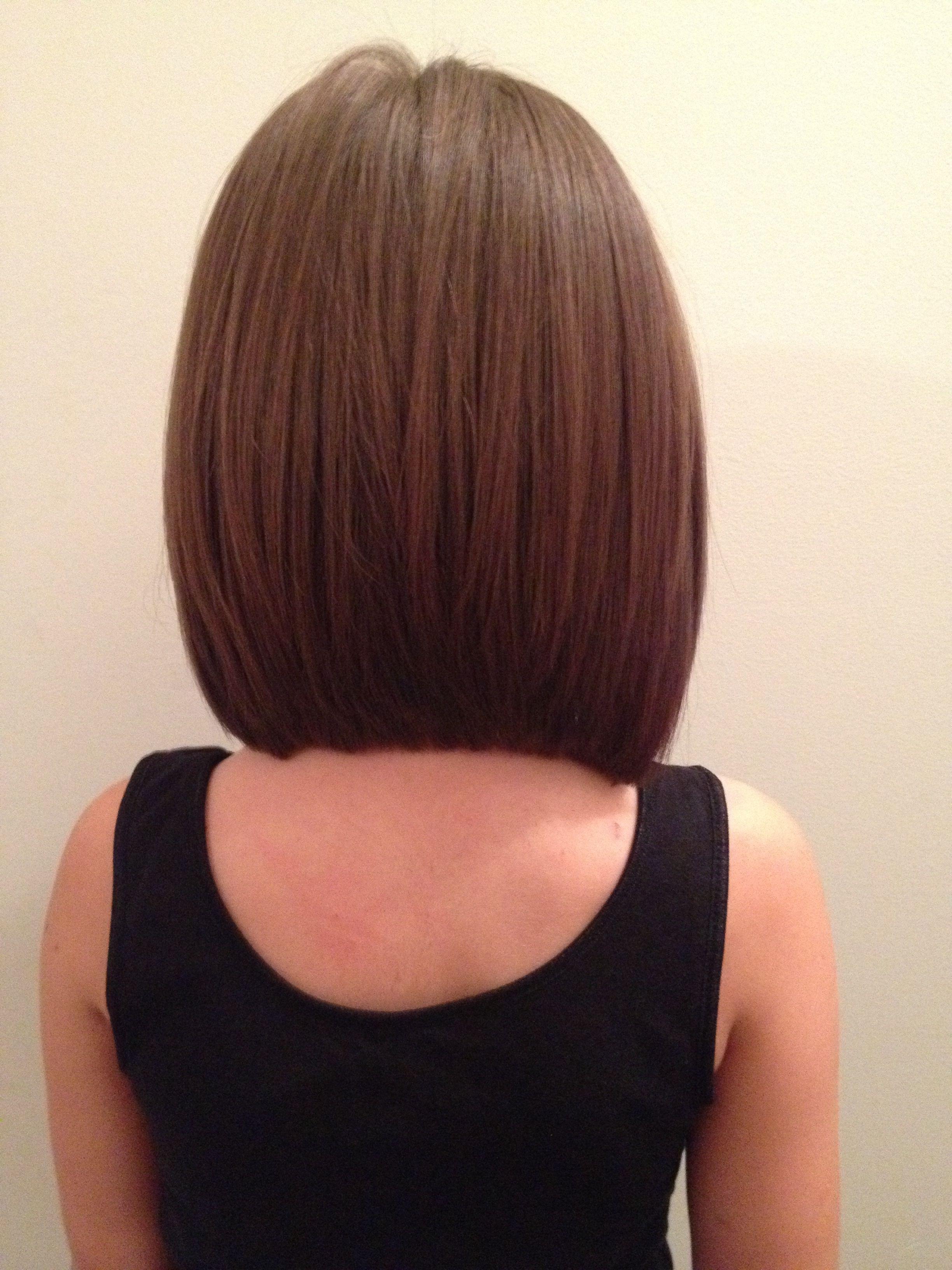 Medium Layered Angled Hairstyles Back View - Wavy Haircut