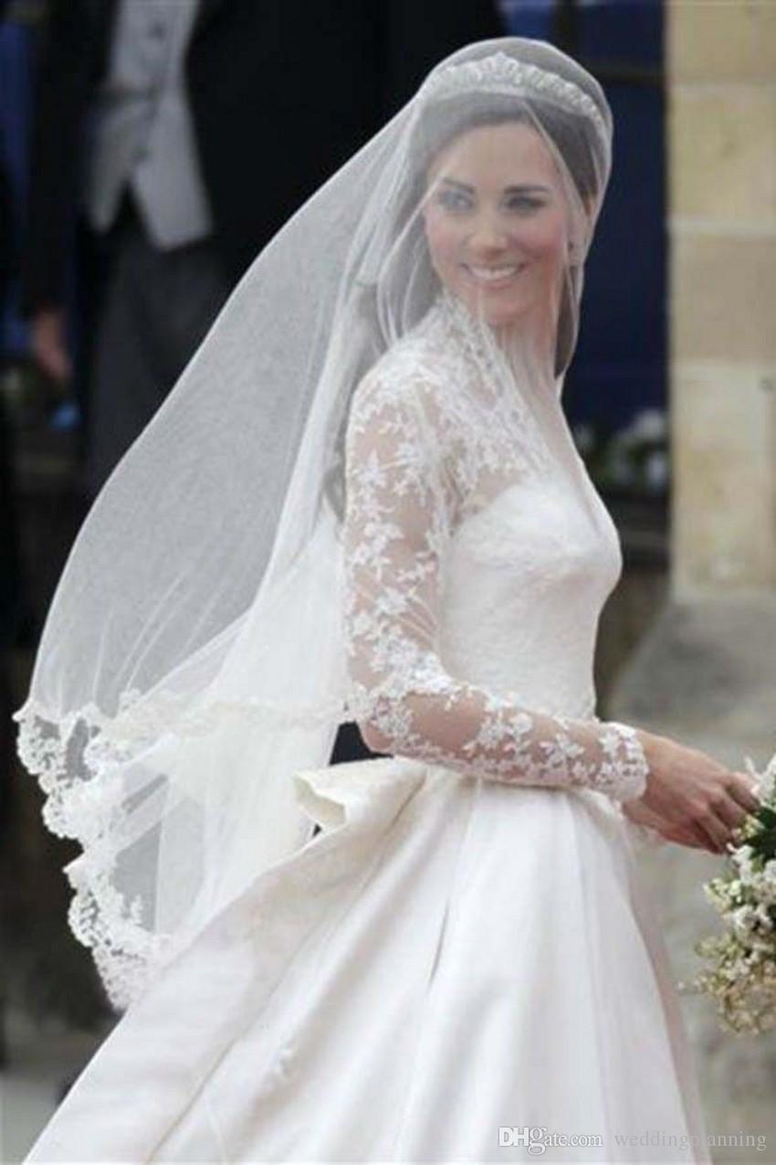 Luxury Vintage Muslim Wedding Veils 1960S Best Selling White Veils Applique  Cheap Bridal Wedding Veil Lace Hajab Veil inside Wedding Dresses With Vail