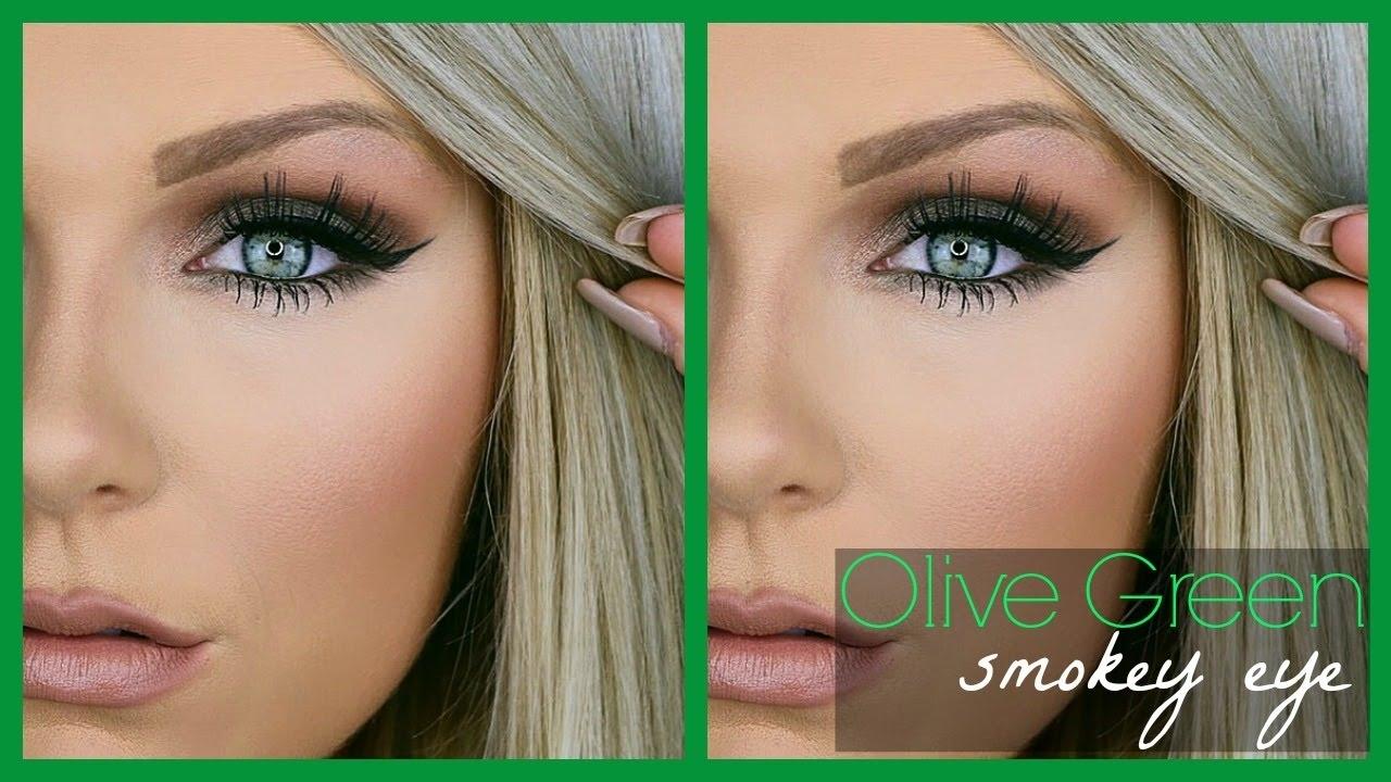 Olive Green Smokey Eye   Makeup Tutorial regarding What Color Eye Makeup For Green Eyes And Blonde Hair
