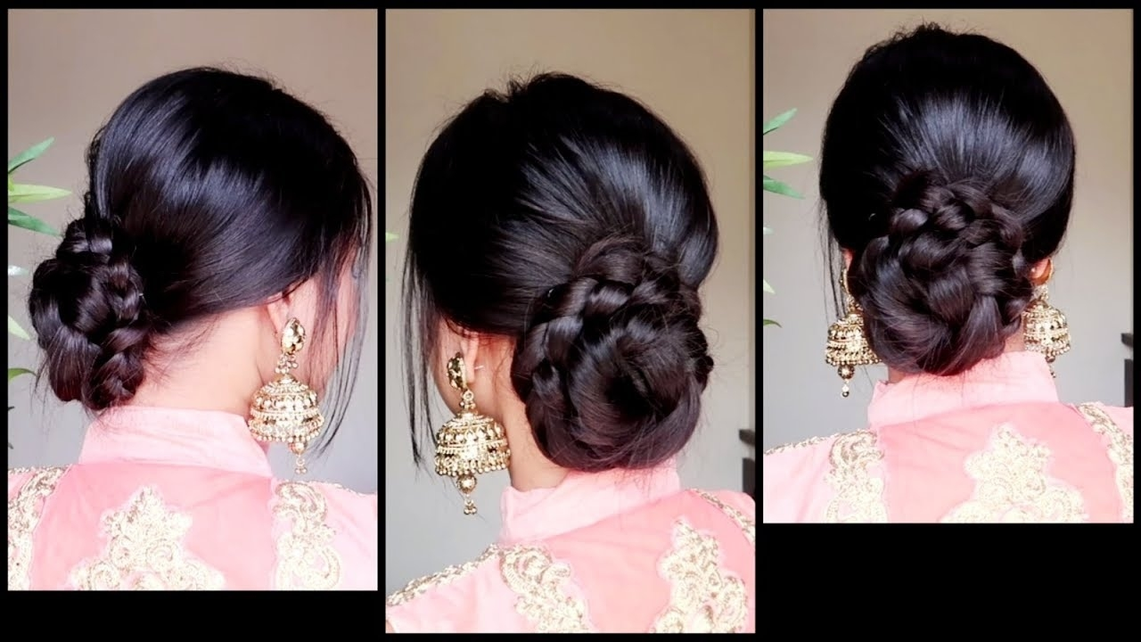Quick Easy Braided Bun Hairstyle For Parties//indian Wedding Guest  Hairstyle For Medium To Long Hair within Indian Updo Hairstyles For Long Hair