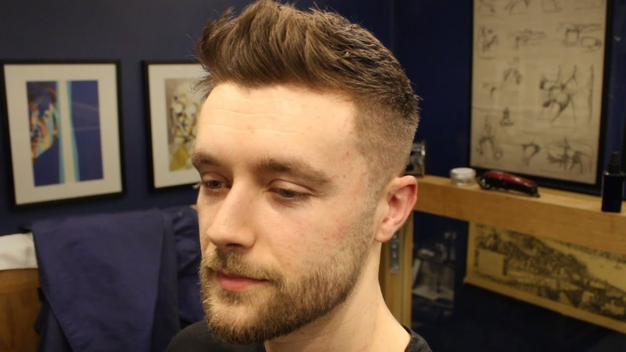 Short Textured Men's Fade Haircut With Front Cowlick & Beard Trim with Short Haircuts For Cowlicks