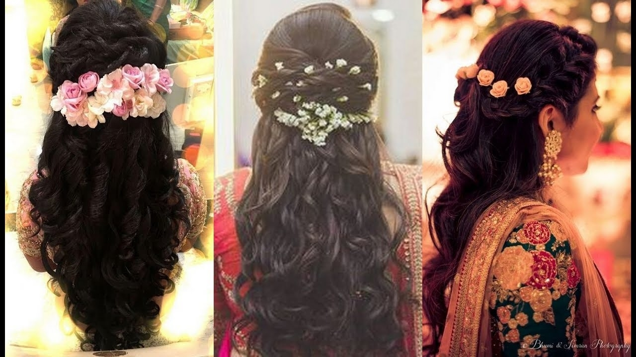 South Indian Bridal Hairstyles For Reception/north Indian within South Indian Bridal Hairstyles For Medium Hair