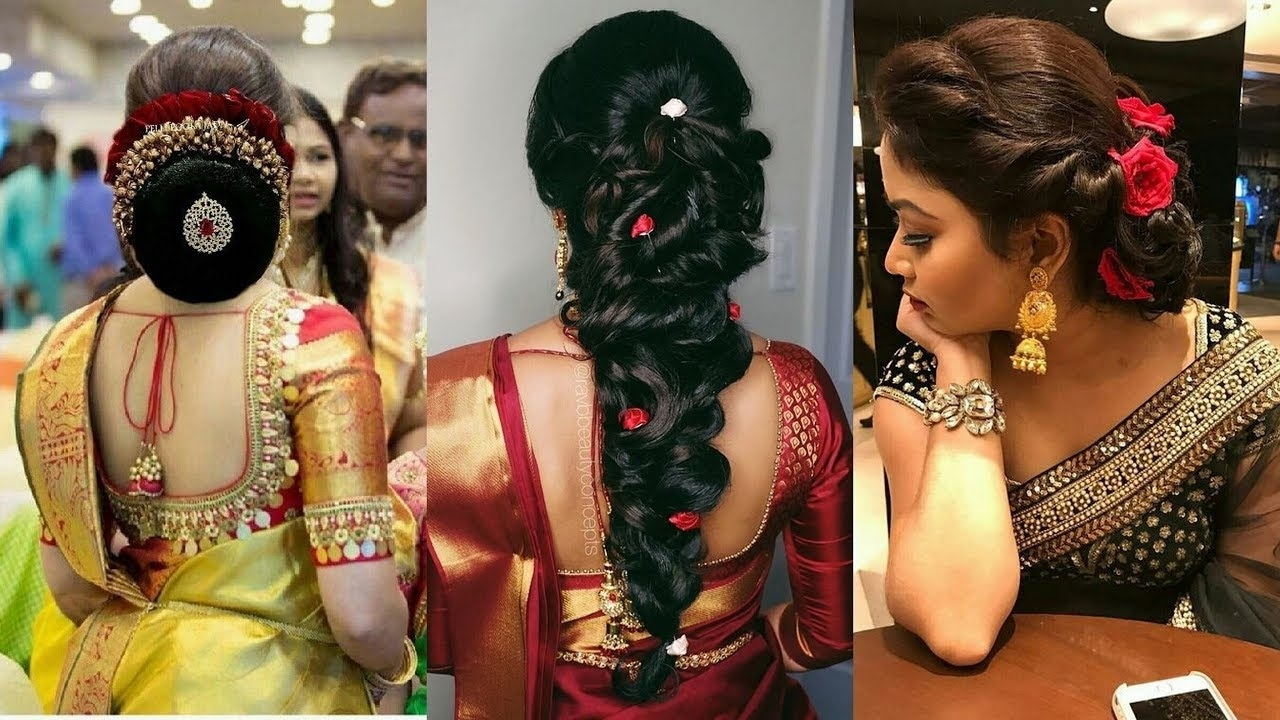 South Indian Hairstyle For Party / Reception/wedding/north Indian Hair Style within North Indian Bridal Hairstyle